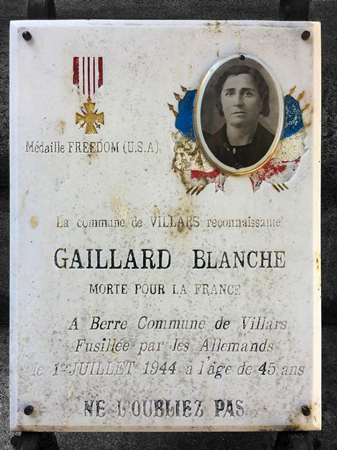 Blanche Gaillard Plaque